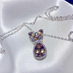 STS 925 silver citrine butterfly teardrop necklace